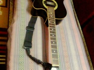 acoustic guitar with bag and belt